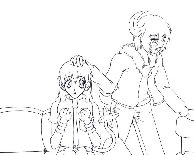 Abbie and Luixa (lineart)