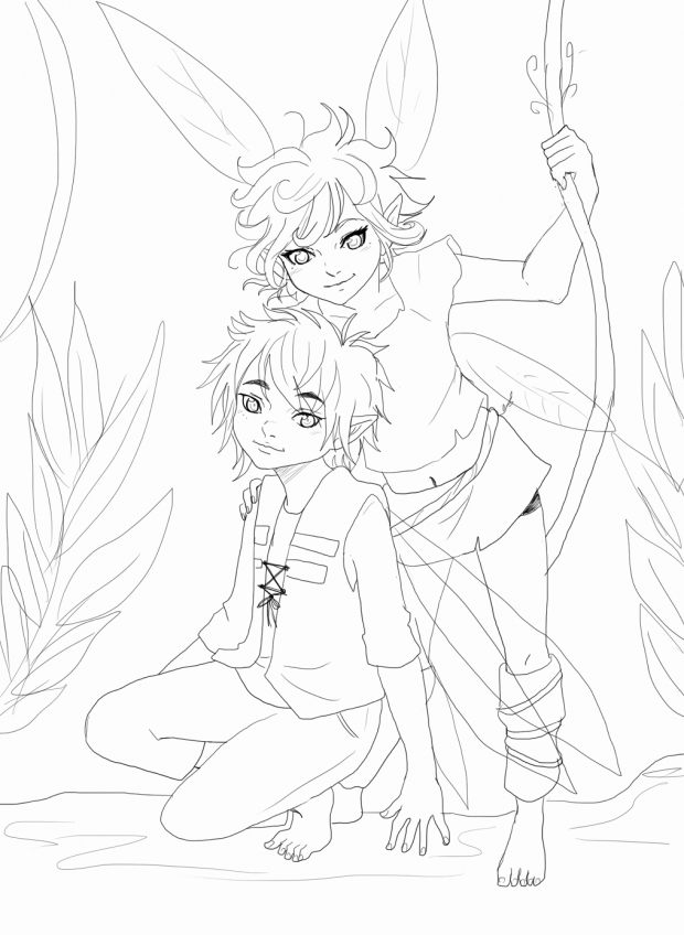 Tatl and Tael lineart