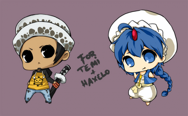 trafalgar law and aladdin chibi