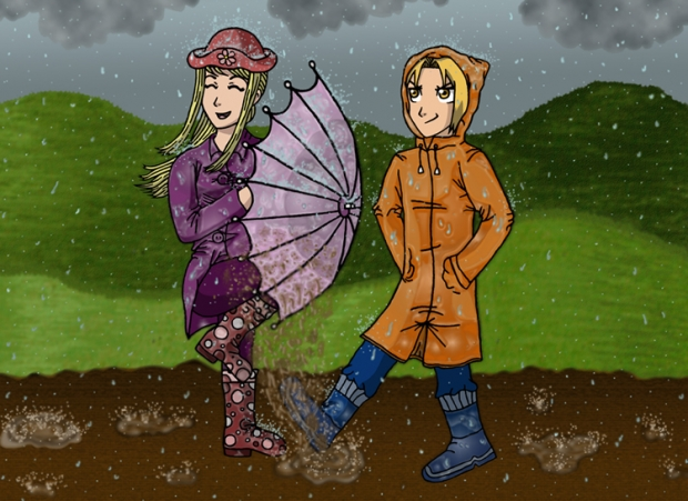 Ed And Winry Playin' In The Rain