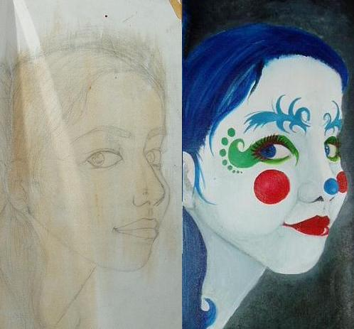 Self-portrait of me;; made into a CLOWN !