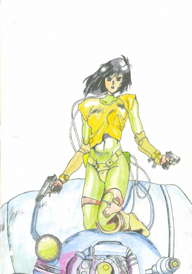 Motoko On Tank In Color