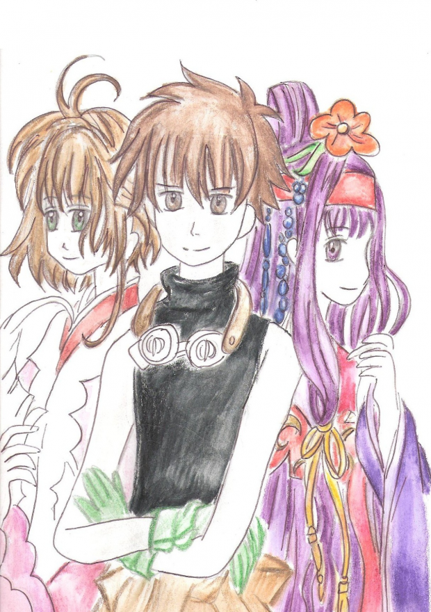 Sakura, Syaoran, and Tomoyo