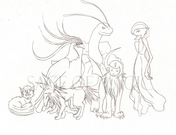 Pokemon Team Lineart