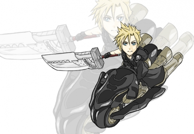 Cloud and Fenrir chibi