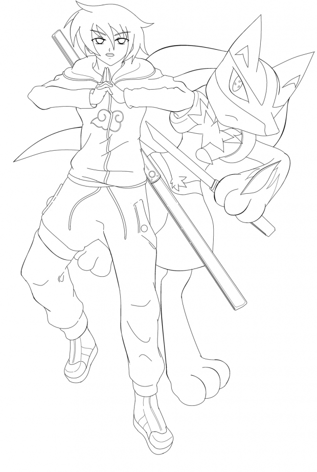 Zuzu Uchiha x lucario lineart finish