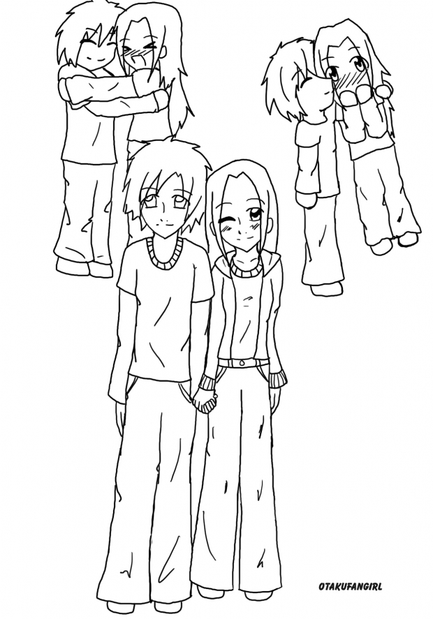 Cute Anime Art. couple line art cute anime