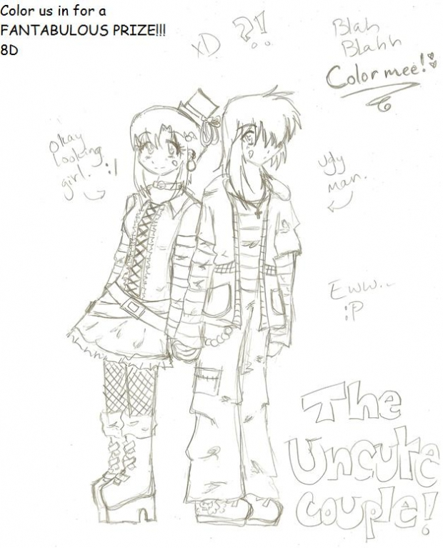 The Uncute Couple- Color us in to Win!!