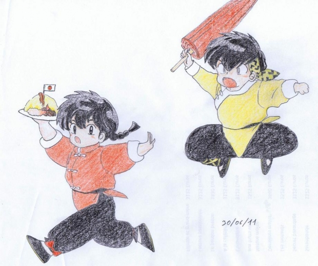 Chibi Ranma and Ryôga