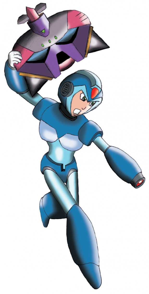 Mega Man X flying on Enemy