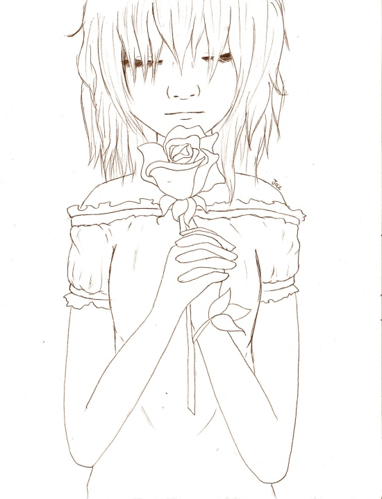 Flower Girl Line Art