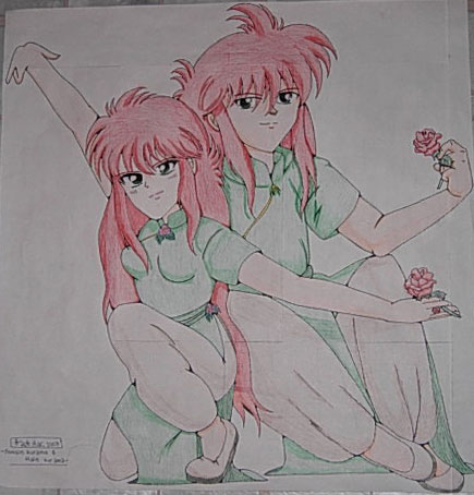 Rose & Kurama Sit With Thier Roses