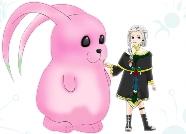 Black Tribe girl and bunny