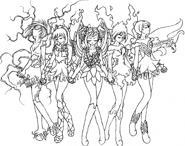 Elemental Fairies Lineart