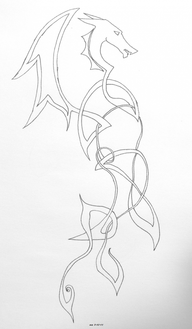 Dragon Tattoo Line Art. Dragon tattoo lineart