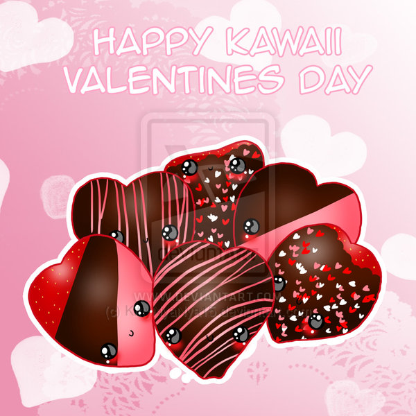 Kawaii Valentines Day Chocolate Covered Strawberry