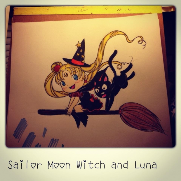 Chibi Sailor Moon Witch with Luna