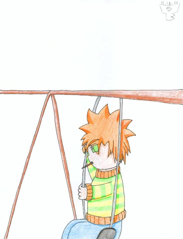 Eatin' Pocky on a Swing
