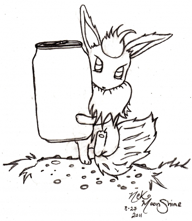 Design a Can w/ Flareon (Line art)