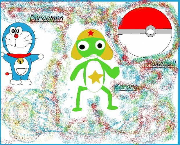 Doraemon,Keroro,and pokeball