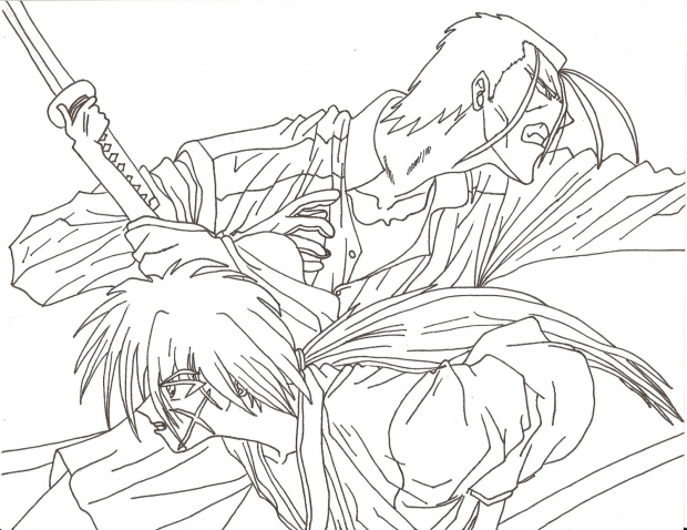 Kenshin vs. Saito black and white