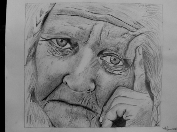 an old woman drawing