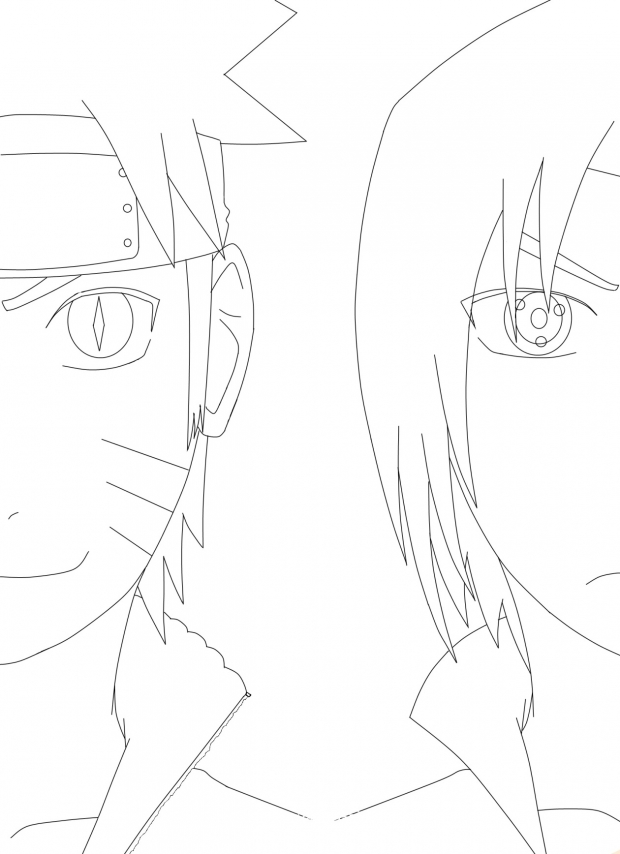 Naruto and Sasuke Lineart