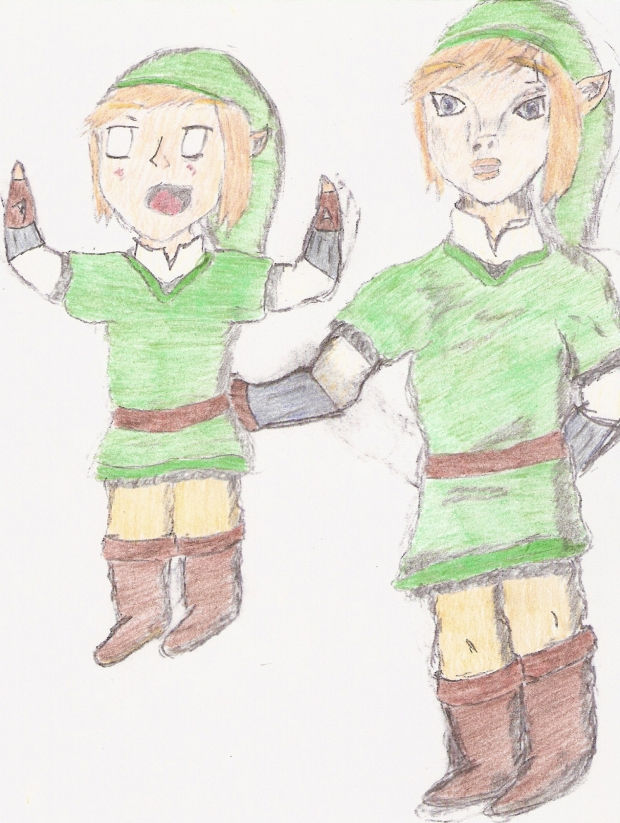Surprised Chibi & Regular Link