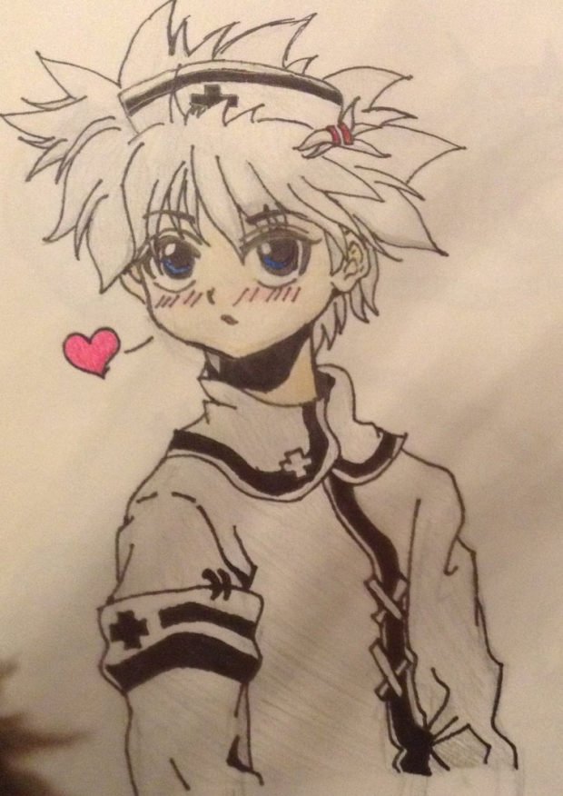 Killua in a nurse outfit!!!