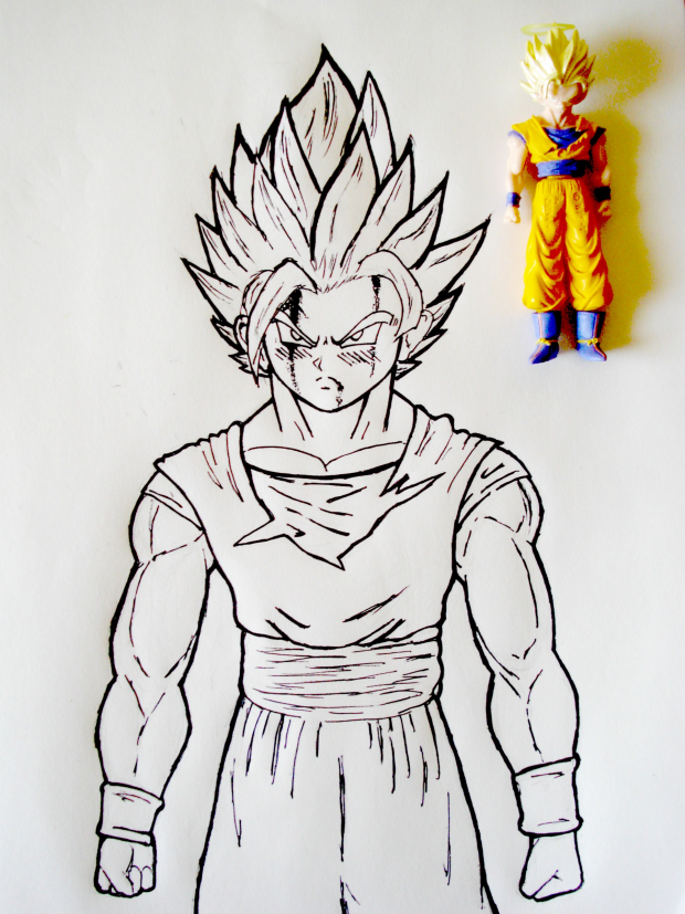 Contour Line Drawing Of Figures : Goku contour action figure drawing by protagonist